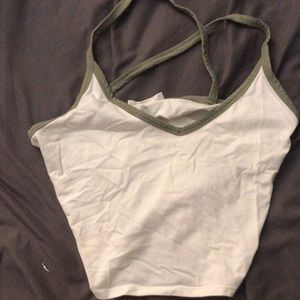 white and green crop top